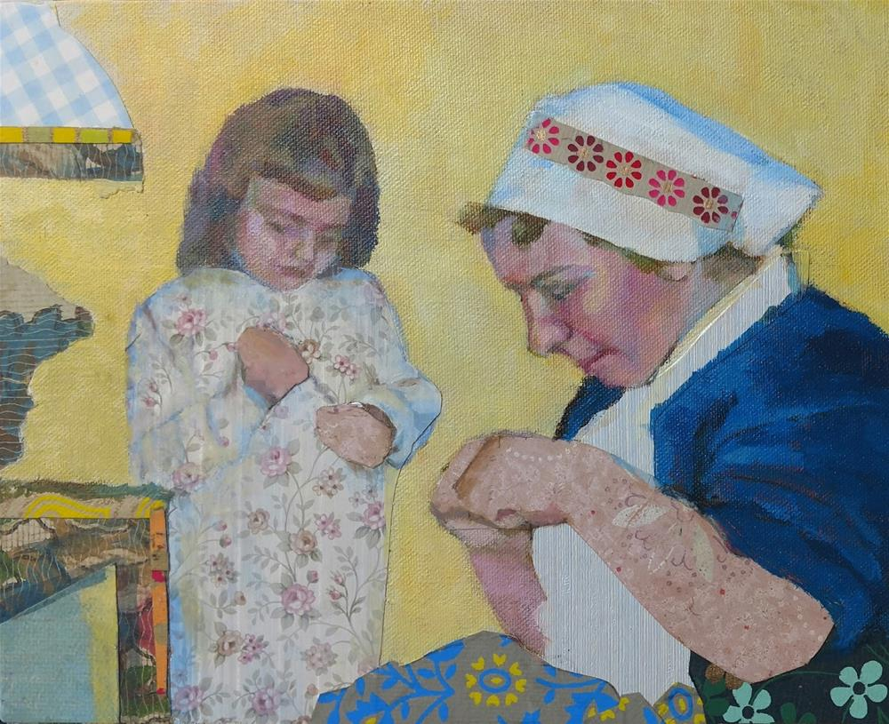 """Sewing Lesson - commission"" original fine art by Katie Wilson"