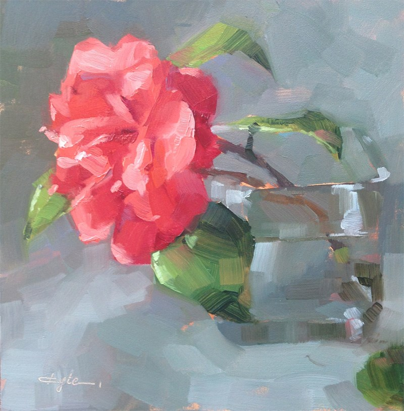 """Red Camellia"" original fine art by Katia Kyte"