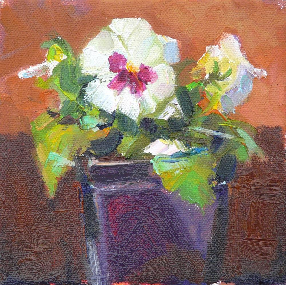 """""""Pansy without Peachstill life, oil on canvas,6x6,price$200"""" original fine art by Joy Olney"""