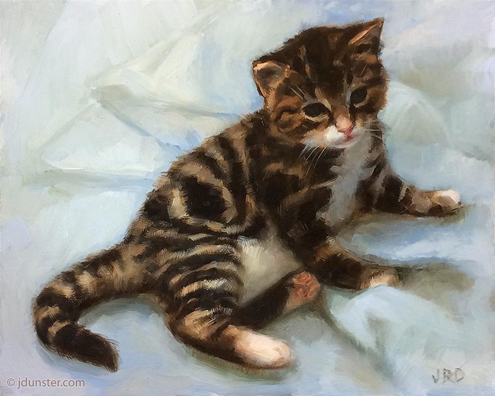 """Kitten on a Blanket"" original fine art by J. Dunster"