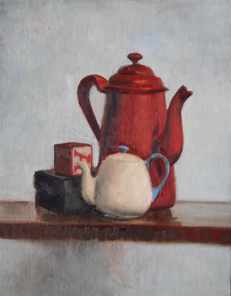 """""""Still Life with Red Coffee Pot"""" original fine art by Megan Schembre"""