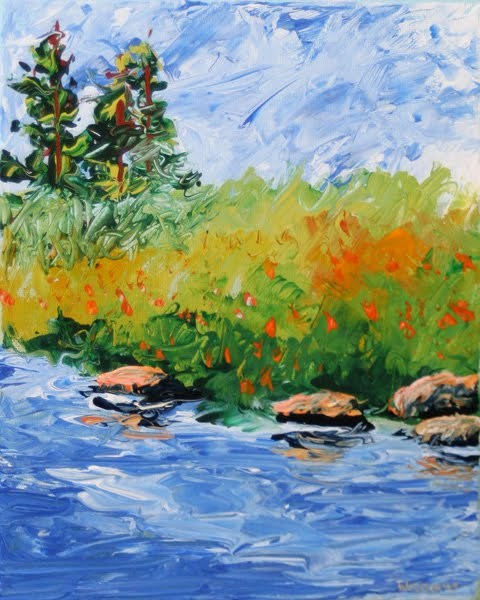"""""""Foothill River Abstract Palette Knife Painting"""" original fine art by Mark Webster"""