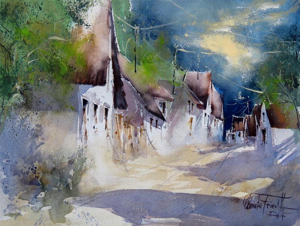 """Wine Cellar Lane Lower Austria"" original fine art by Christa Friedl"