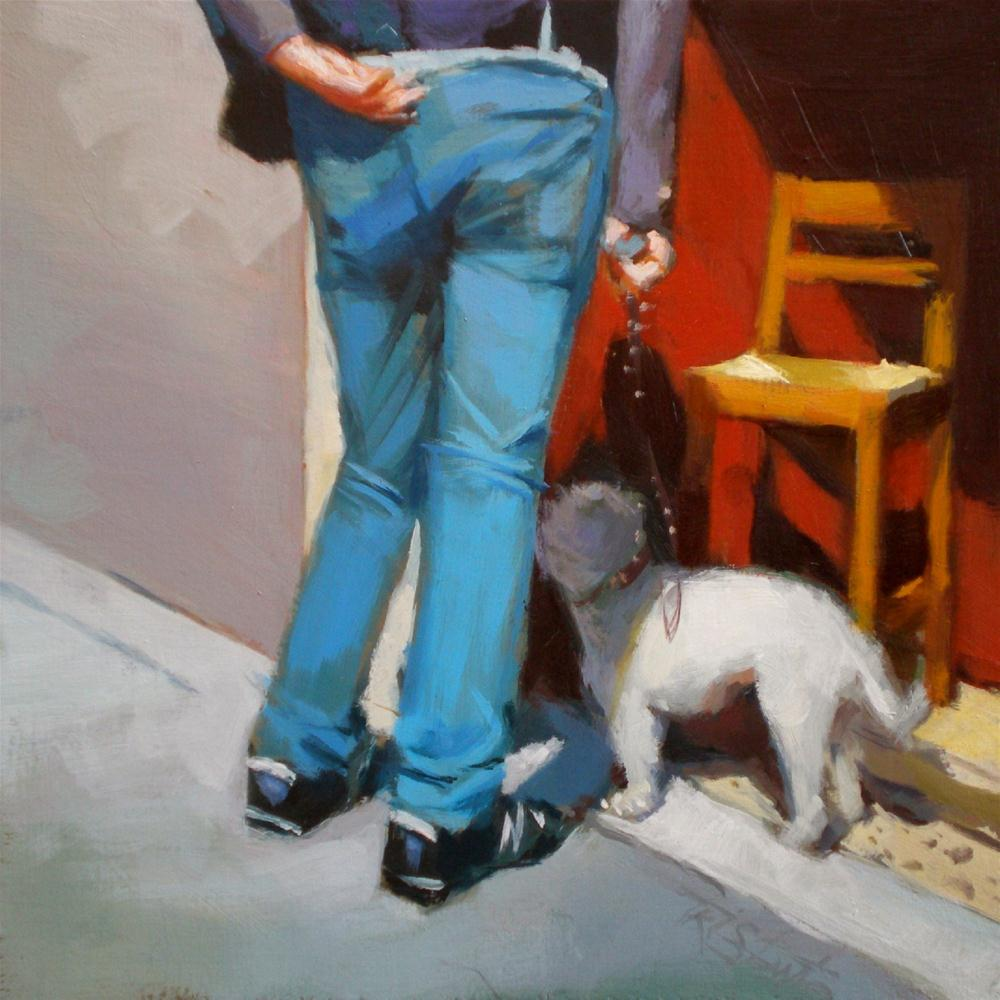 """Walking the dog"" original fine art by Víctor Tristante"