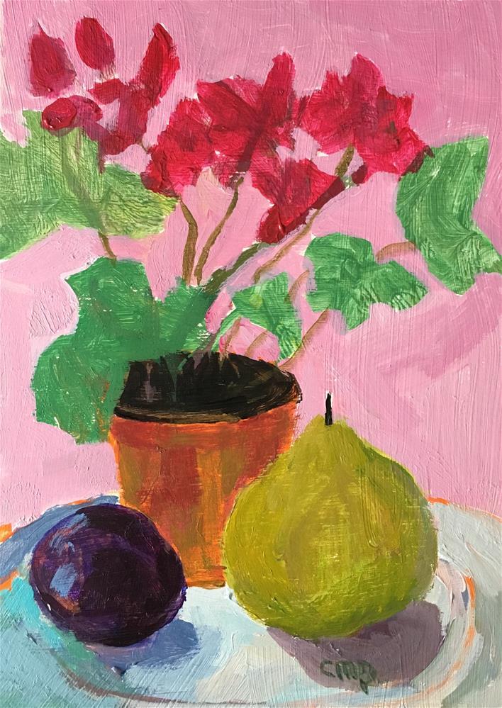 """Still life with geranium"" original fine art by Christine Parker"