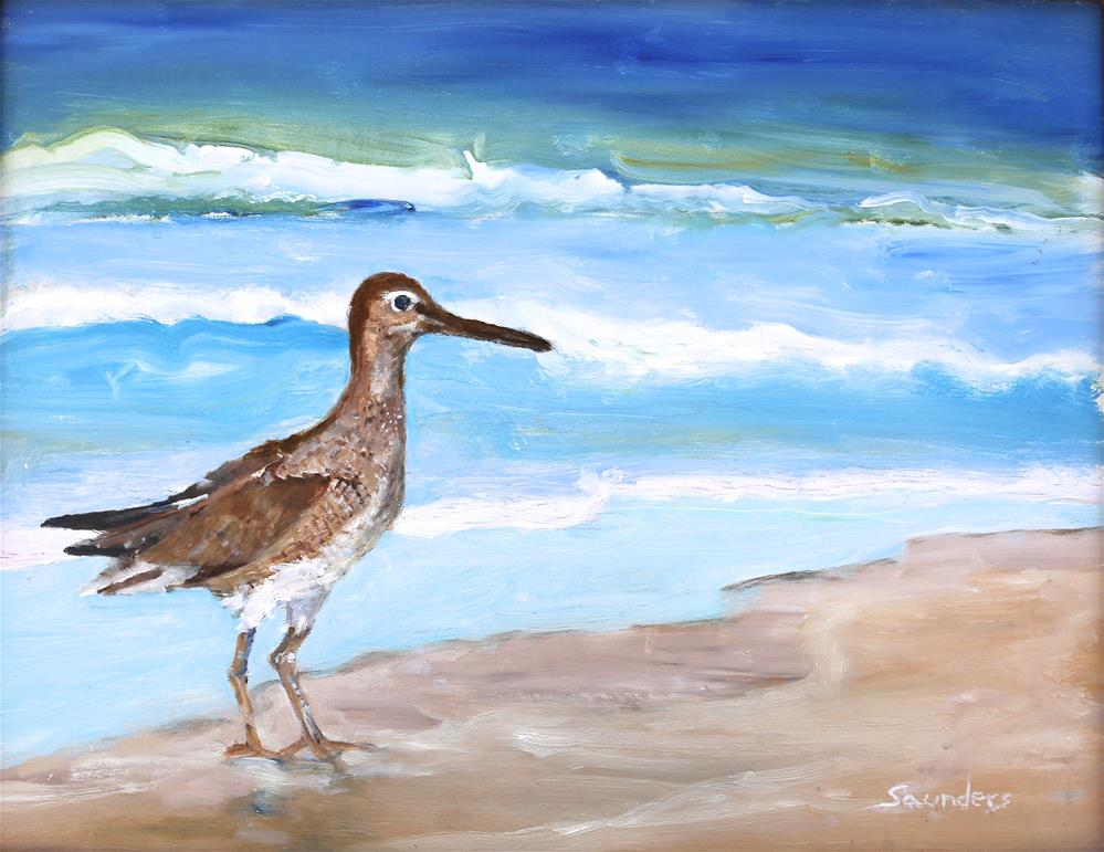 """Shore bird and surf -- Willet"" original fine art by Michael Saunders"