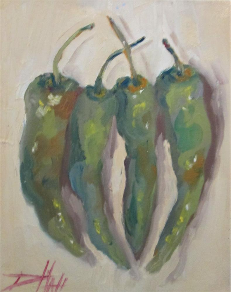 """Four Hot Peppers"" original fine art by Delilah Smith"