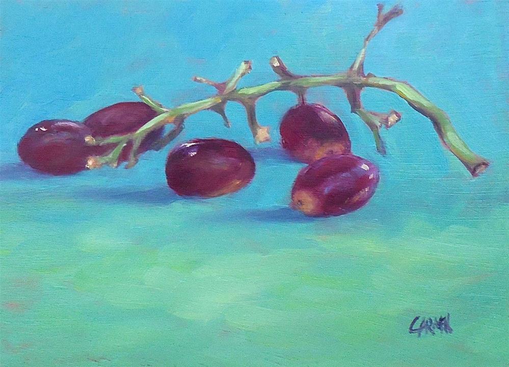 """Red Grapes, 5x7 Still Life Oil on Panel"" original fine art by Carmen Beecher"