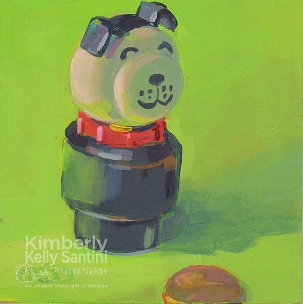 """Pup + Penny, Toy # 12"" original fine art by Kimberly Santini"