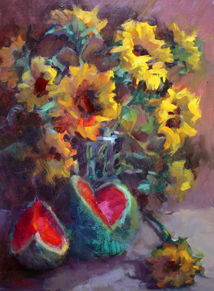 """Sunflower and Watermelon"" original fine art by Carol Myer"