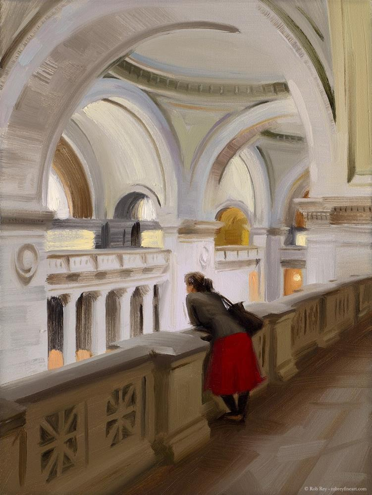 """""""Resting at the Met Museum"""" original fine art by Rob  Rey"""