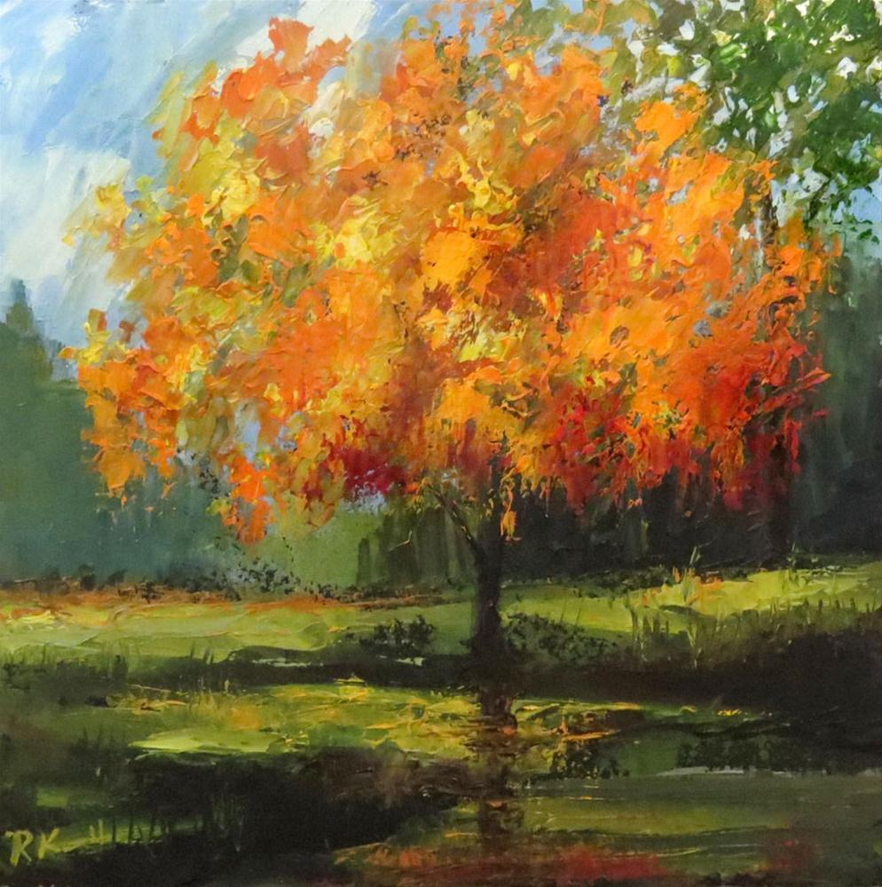 """An Orange Tree by the Pond"" original fine art by Bob Kimball"