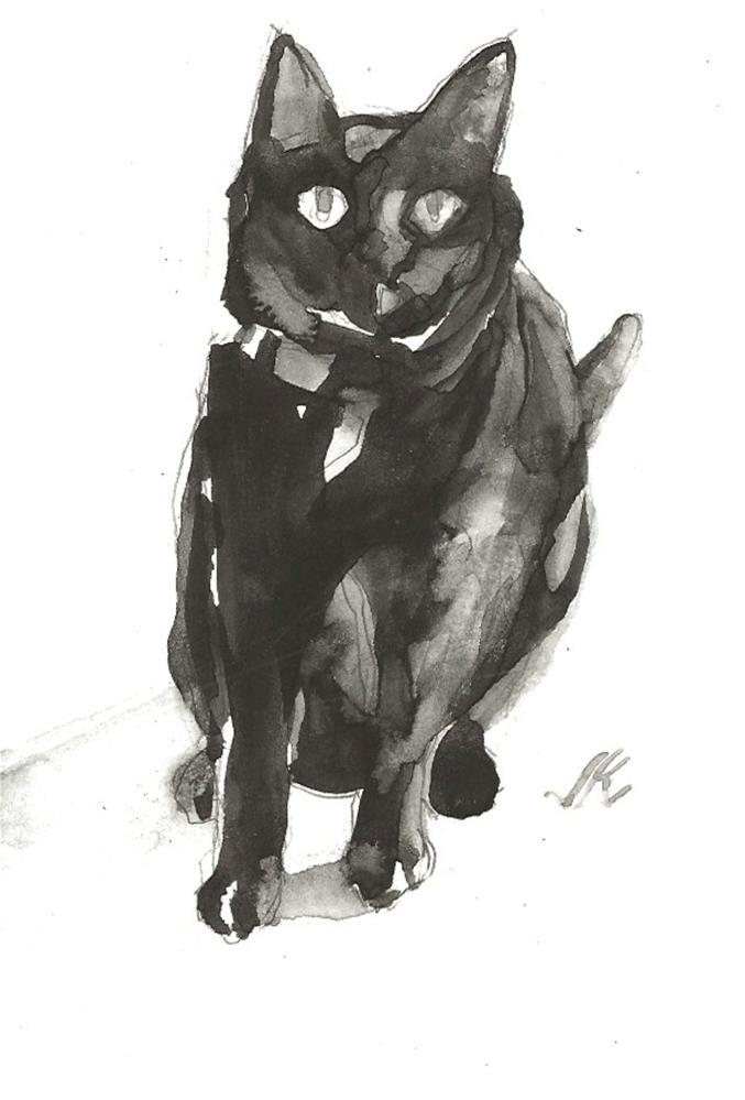 """Daily Cat 129"" original fine art by Jean Krueger"