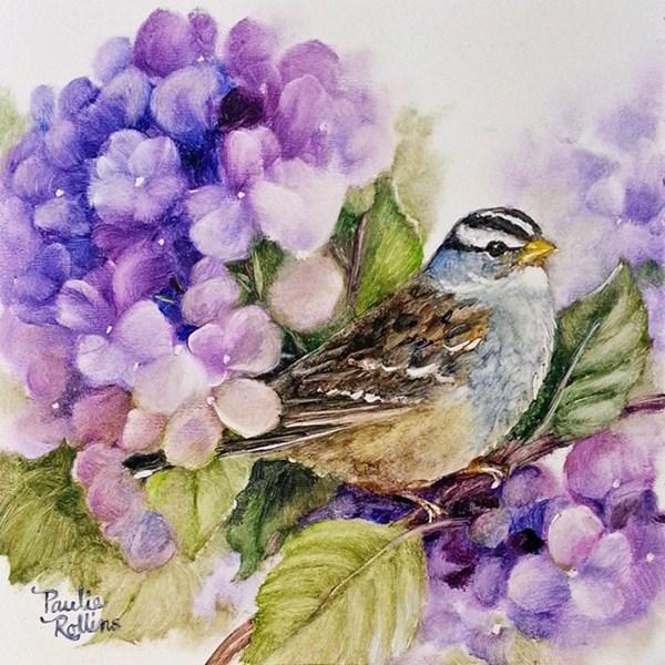 """""""The Purple Hydrangeas"""" original fine art by Paulie Rollins"""