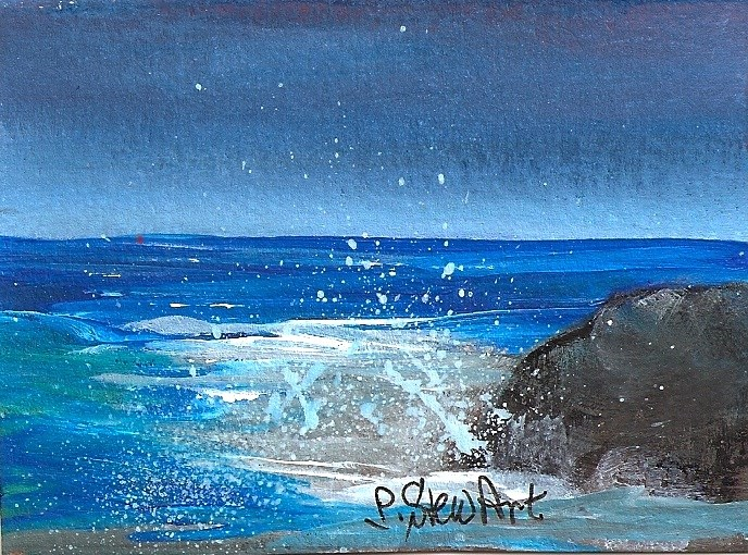 """""""ACEO, Rock of Ages, By the Sea Miniature Work of Art, Acrylic, OOAK"""" original fine art by Penny Lee StewArt"""