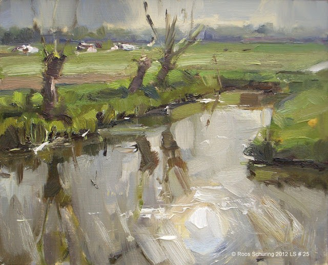 """Landscape spring #25 Sun reflected willows ditch cows"" original fine art by Roos Schuring"