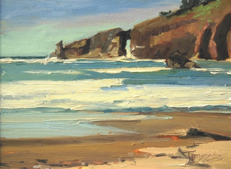 """""""Hole in the Wall Second Beach,  plein air, marinescape, oil painting by Robin Weiss"""" original fine art by Robin Weiss"""