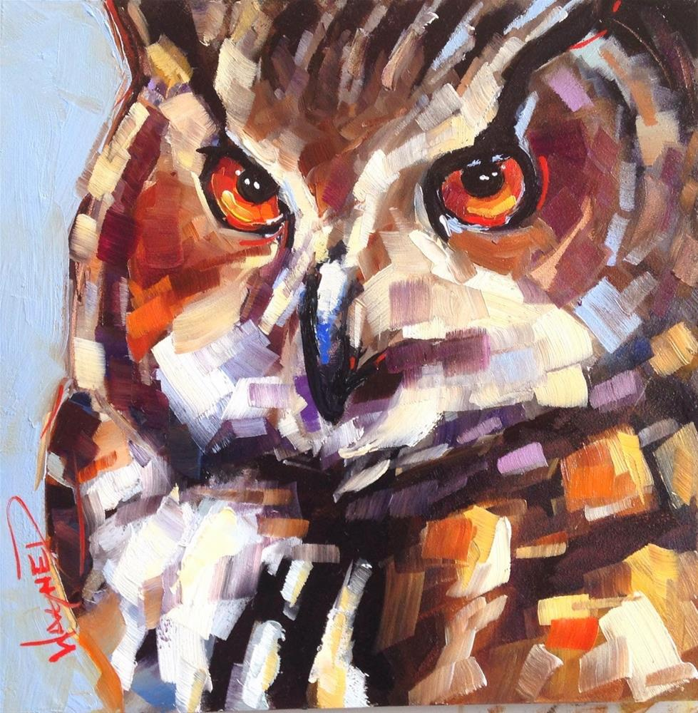 """CONTEMPORARY OWL PAINTING #2 in OILS by OLGA WAGNER"" original fine art by Olga Wagner"