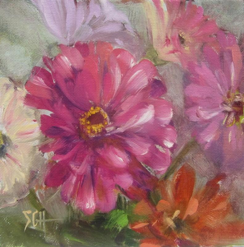 """Zinnia heaven"" original fine art by Sandy Haynes"