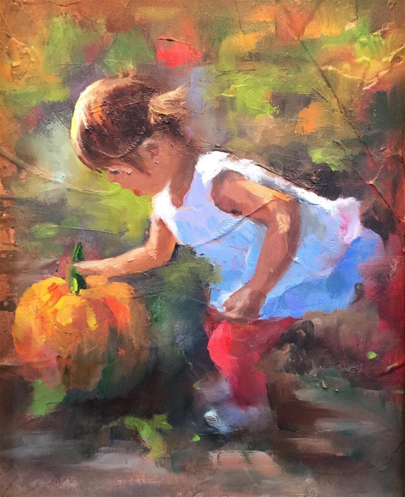 """""""Cute lil' pumpkin"""" original fine art by Linda Carney"""