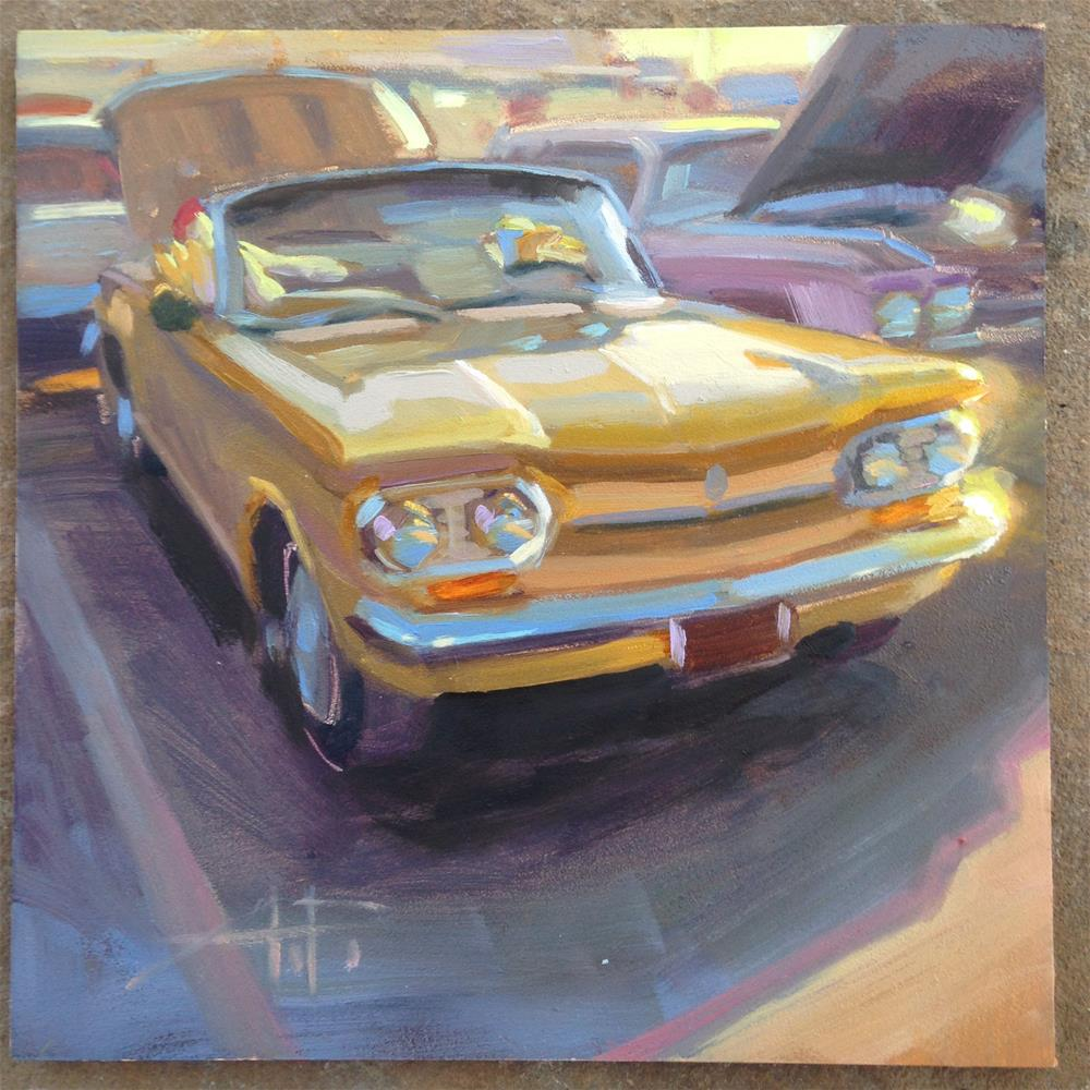 """""""Chevy Corvair Chickens"""" original fine art by Anette Power"""