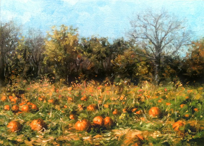 """Heaven Hill Farm Pumpkins 1"" original fine art by Danny O'Leary"