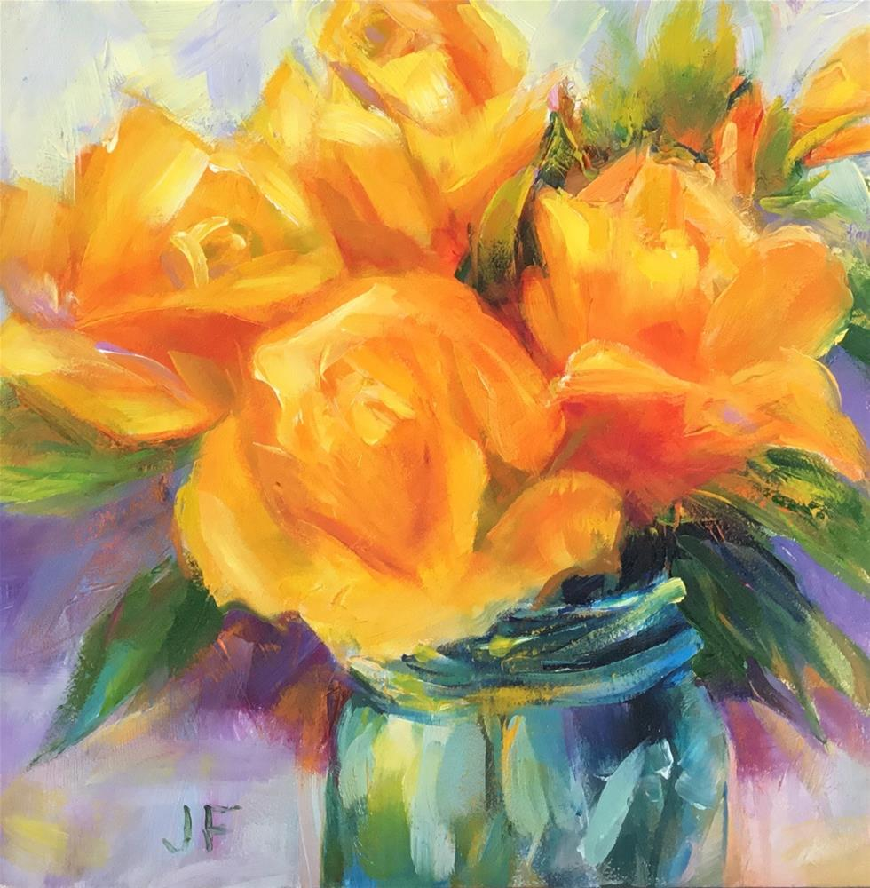 """Yellow Roses in a Ball Jar"" original fine art by Charlotte Fitzgerald"