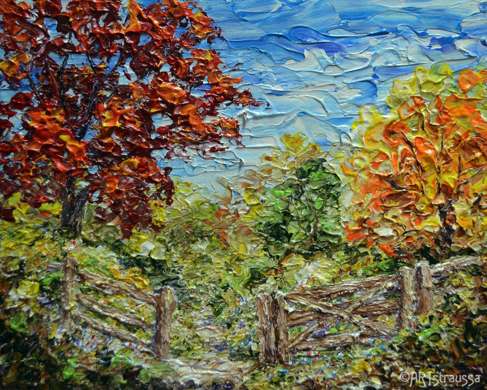 """SALE!!!Autumn Path In Belmont"" original fine art by Gloria Ester"