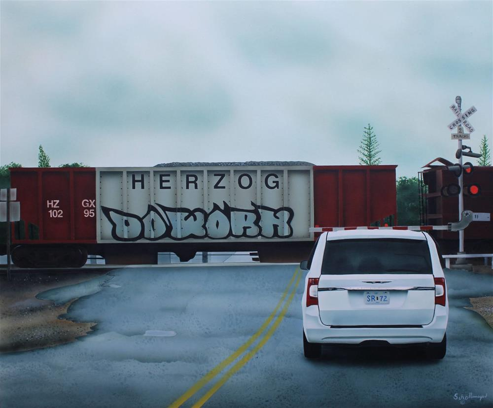 """Rail Crossing in the Rain"" original fine art by Fred Schollmeyer"