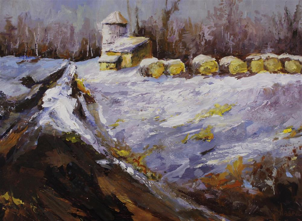 """Original winter snow landscape barn silo haystack painting"" original fine art by Alice Harpel"