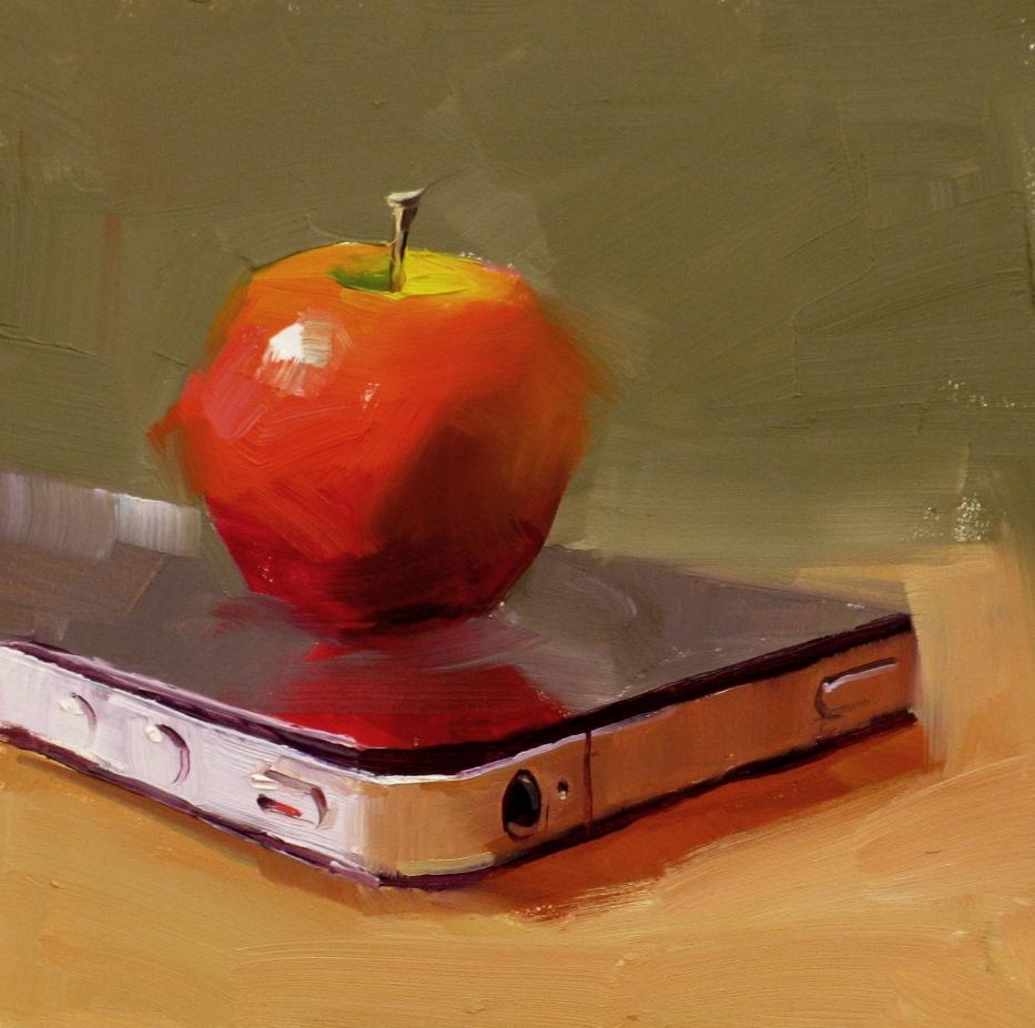 """""""iApple"""" original fine art by Qiang Huang"""