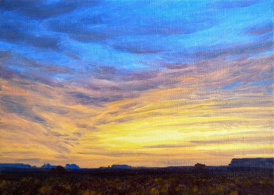 """C1665 ""Evening Gold over Monument Valley"""" original fine art by Steven Thor Johanneson"