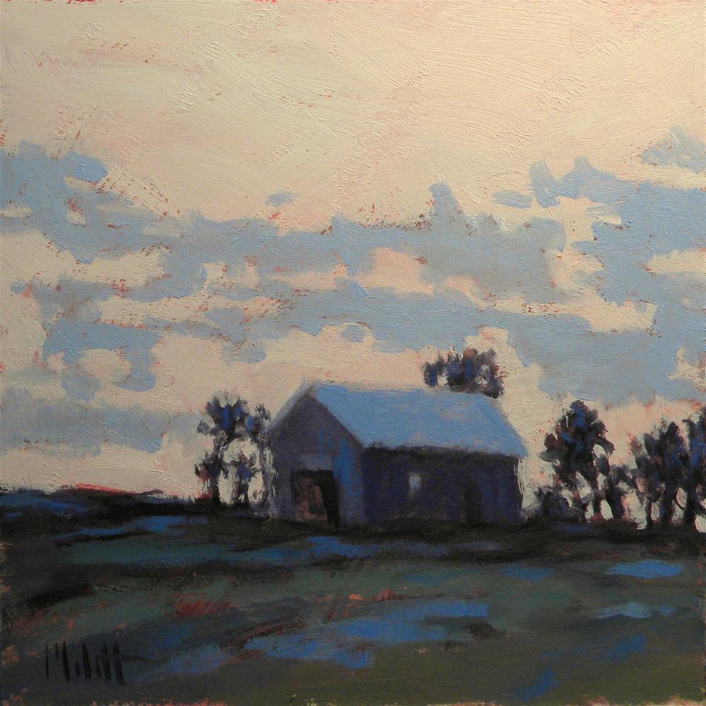 """Barn at Dusk Daily Oil Painting"" original fine art by Heidi Malott"