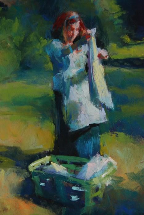 """Laundry Day"" original fine art by Margaret Dyer"