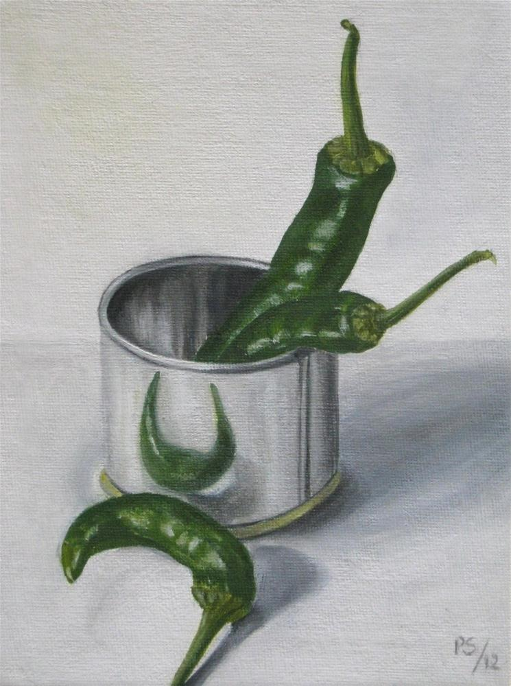 """Tinned Chillies"" original fine art by Pera Schillings"
