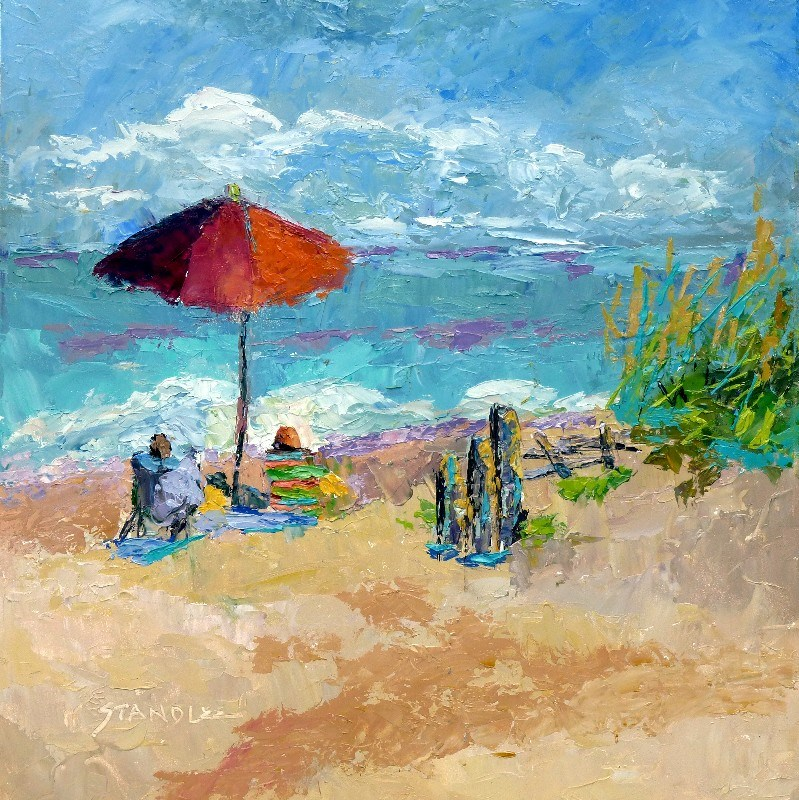 """Little Island Park, Day 2 Painting Palette Knife Workshop with Leslie Saeta Virginia Beach by Texas Artist Nancy Standlee"" original fine art by Nancy Standlee"