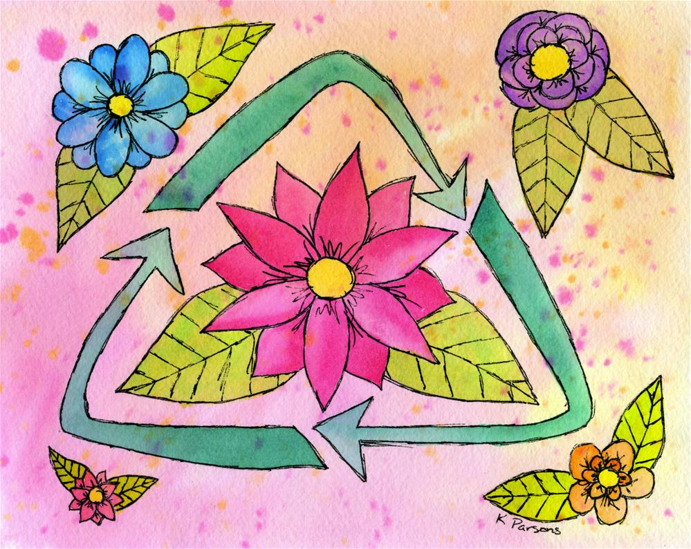 """Recycle Flower Power"" original fine art by Kali Parsons"
