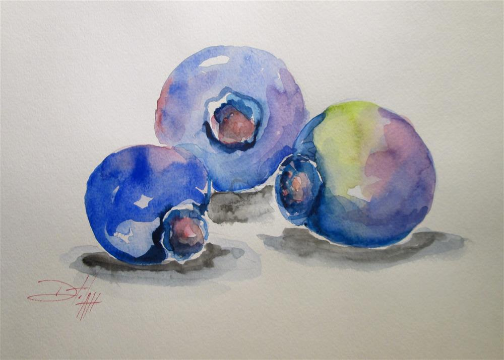 """""""Three Blue Berries"""" original fine art by Delilah Smith"""