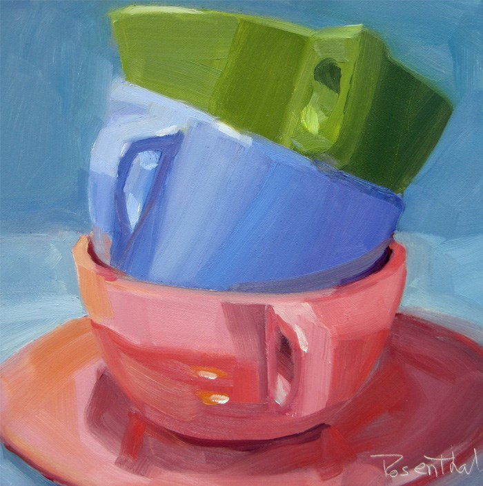 """""""Three Stacked Cups"""" original fine art by Robin Rosenthal"""