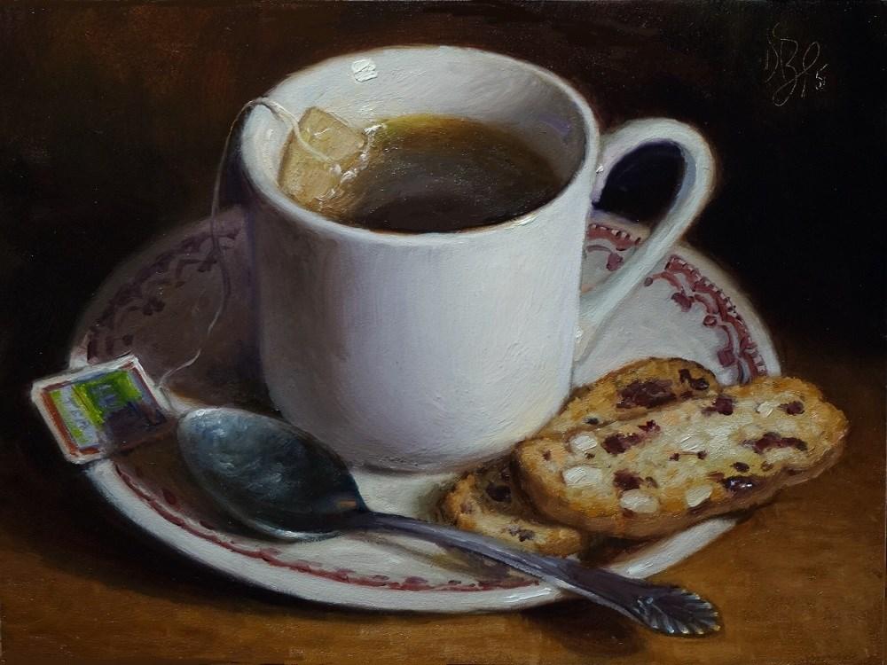 """""""Tea and Biscotti"""" original fine art by Debra Becks Cooper"""
