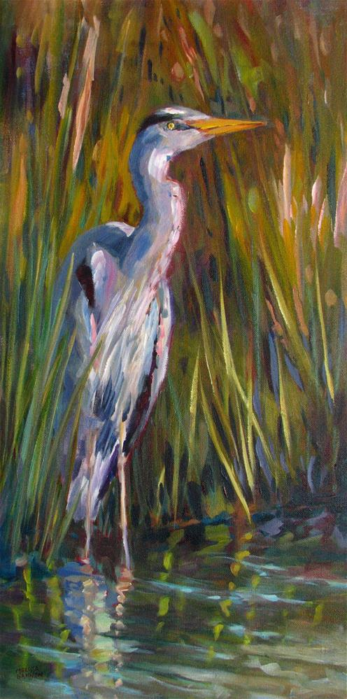 """Warm Light—Heron Peeking Through the Grasses"" original fine art by Melissa Gannon"