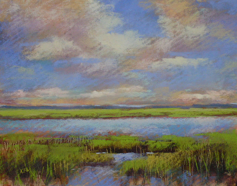 """An Interesting Technique for Painting Marsh Grasses with Pastel"" original fine art by Karen Margulis"