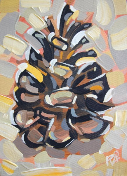 """Pine Cone Abstraction 12"" original fine art by Roger Akesson"