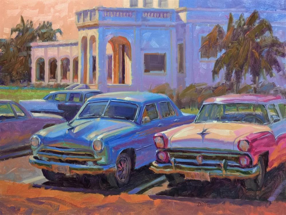 """""""Taxis Under Cuban Skies"""" original fine art by Carl Dalio"""
