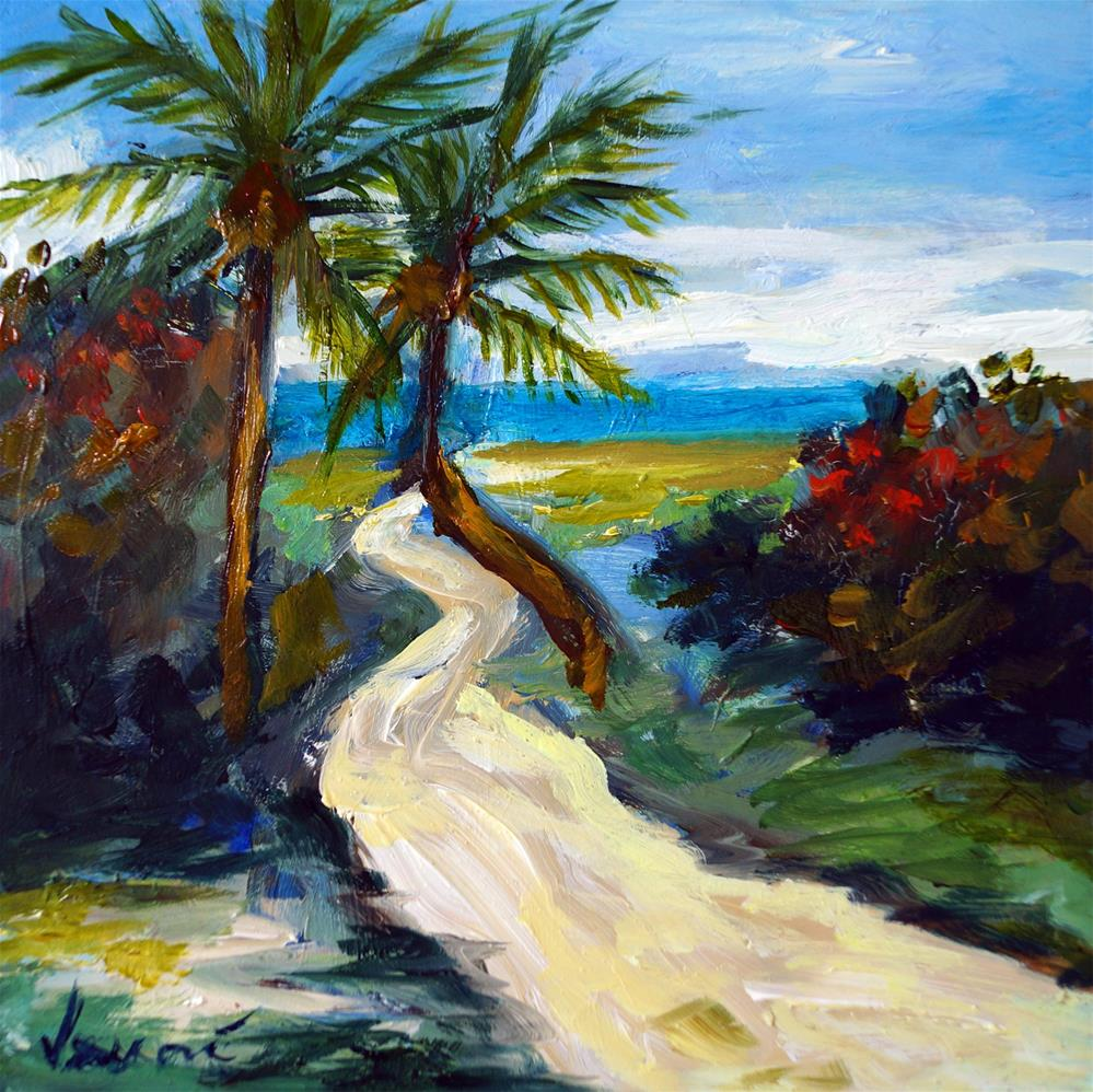 """Palm Tree Path"" original fine art by Valerie Vescovi"