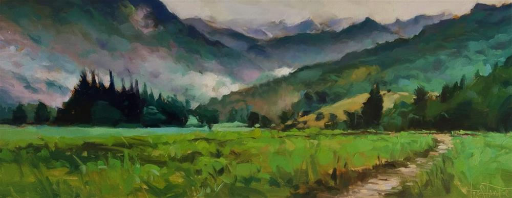 """Green fields"" original fine art by Víctor Tristante"