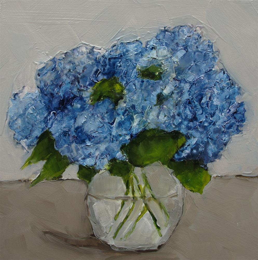 """STILL LIFE Floral Flower HYDRANGEAS Original Art Colette Davis 6x6 Painting OIL"" original fine art by Colette Davis"