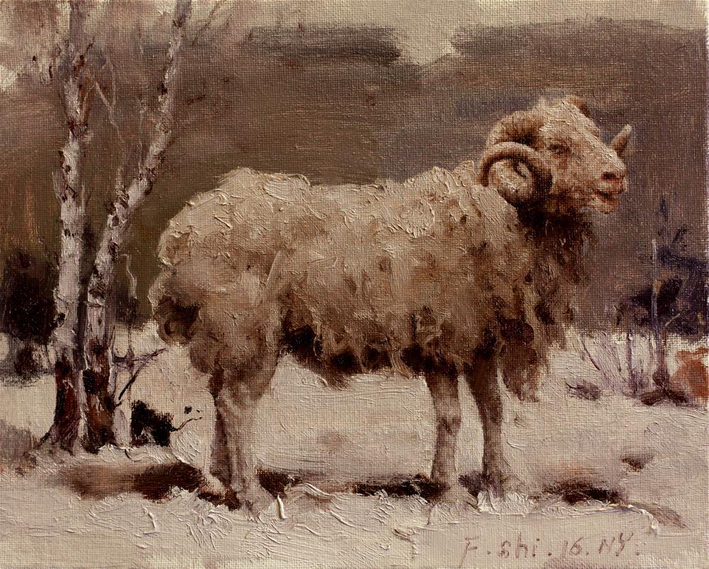 """""""Sheep"""" original fine art by fengshi jin"""