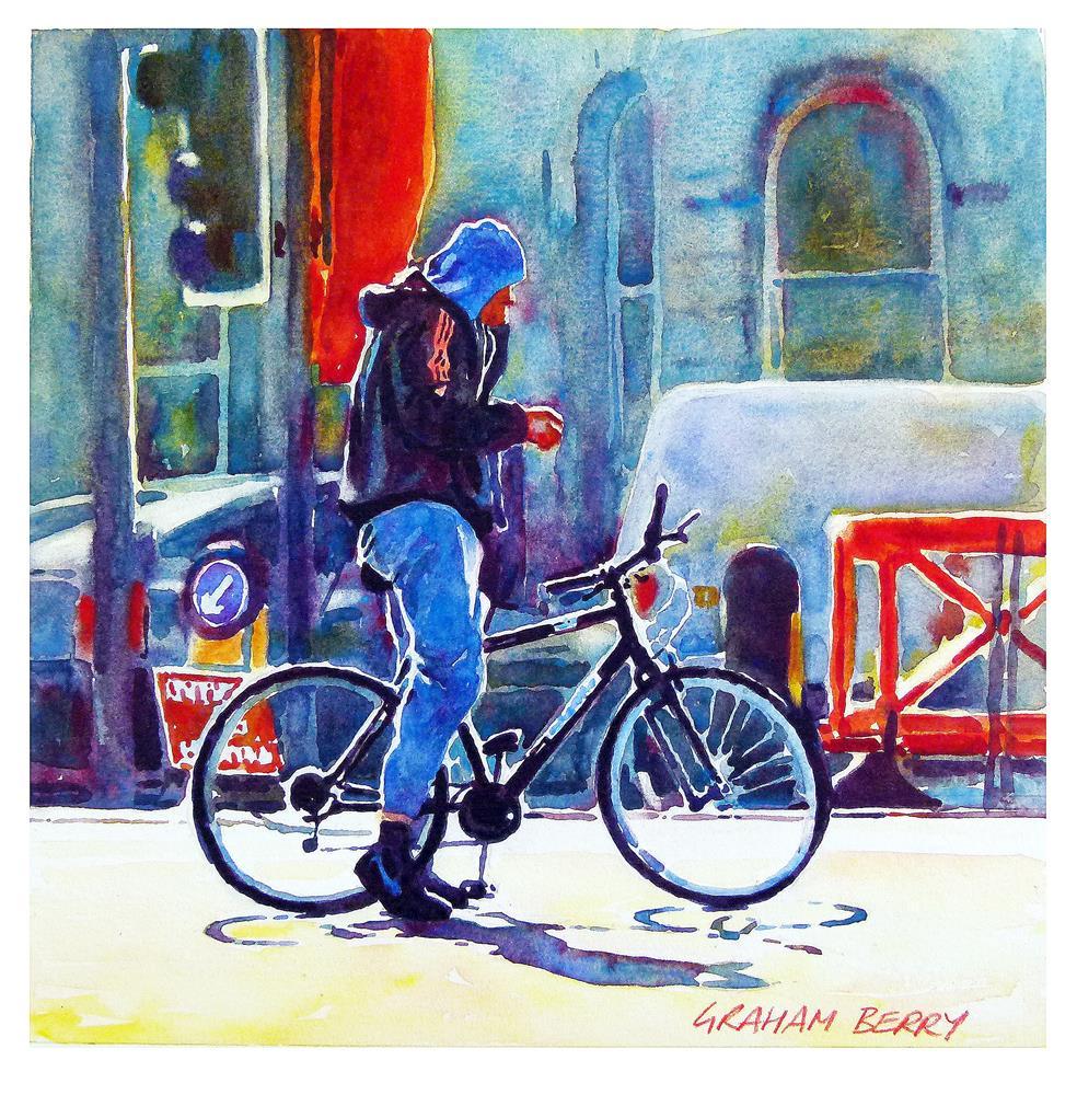 """Yes, I'm on my bike."" original fine art by Graham Berry"