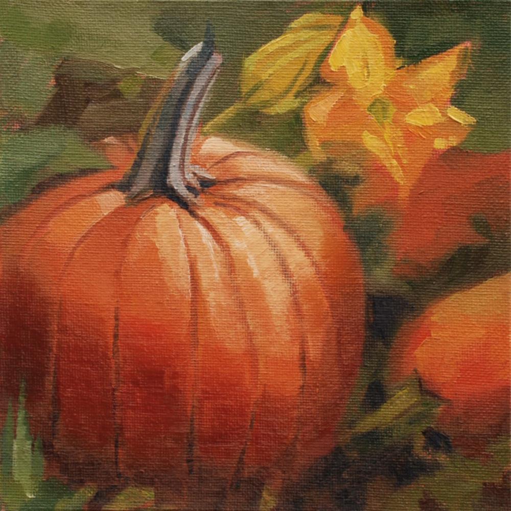 """Pumpkin Flower Study 2"" original fine art by Susan McManamen"